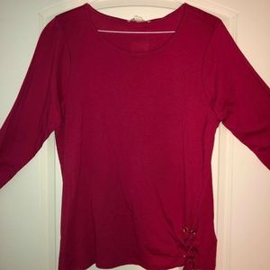 NWT Michael Kors Red Side Lace Blouse